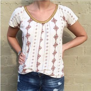 Lucky Brand Moroccan Print Gold Trim Top SZ XL